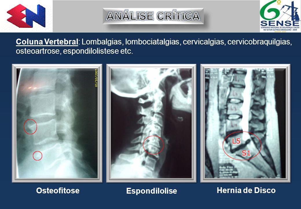 Coluna Vertebral: Lombalgias, lombociatalgias, cervicalgias, cervicobraquilgias, osteoartrose, espondilolistese etc. Osteofitose Hernia de Disco Espon