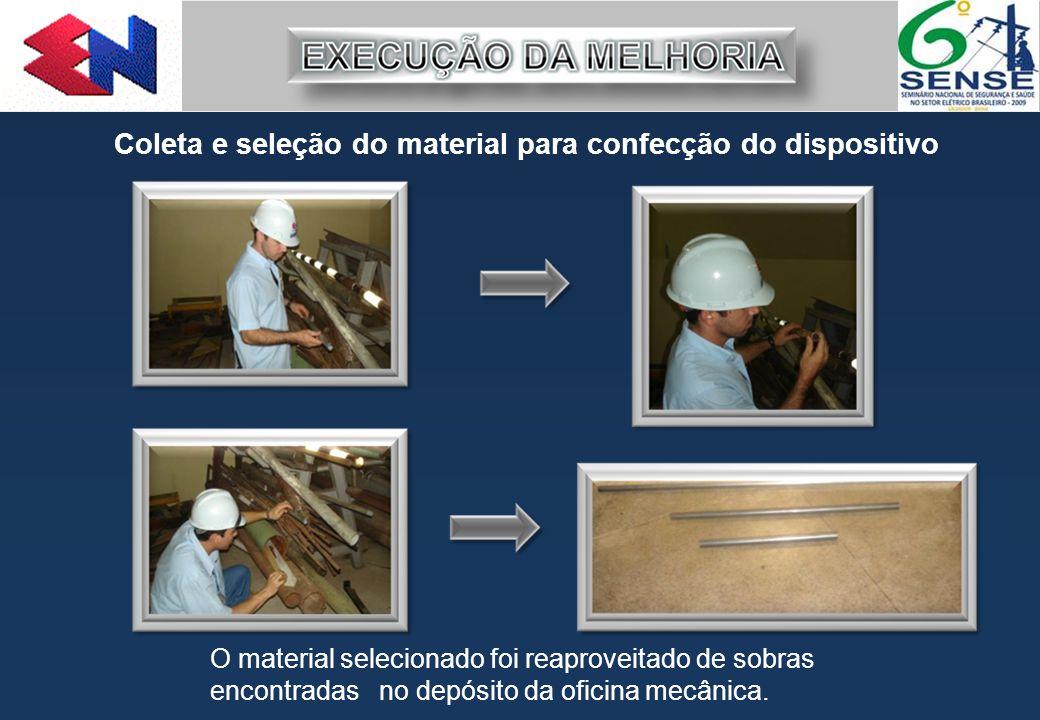 Coleta e seleção do material para confecção do dispositivo O material selecionado foi reaproveitado de sobras encontradas no depósito da oficina mecân