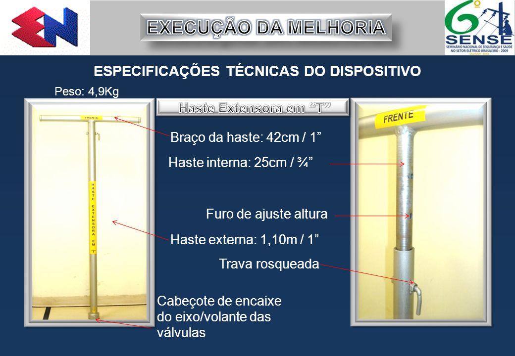 """ESPECIFICAÇÕES TÉCNICAS DO DISPOSITIVO Braço da haste: 42cm / 1"""" Haste externa: 1,10m / 1"""" Cabeçote de encaixe do eixo/volante das válvulas Trava rosq"""