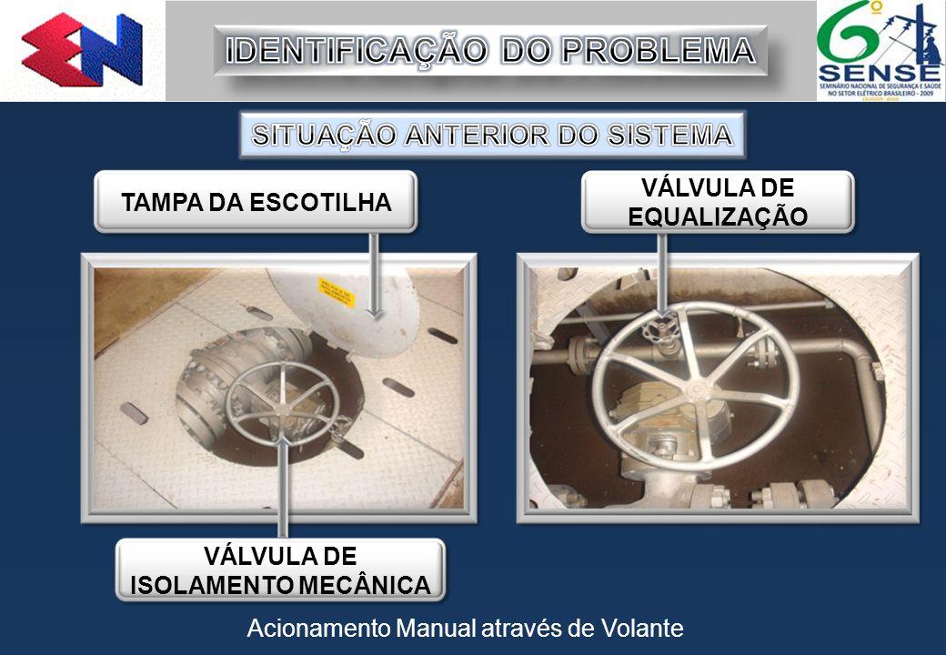 Acionamento Manual através de Volante TAMPA DA ESCOTILHA VÁLVULA DE ISOLAMENTO MECÂNICA VÁLVULA DE EQUALIZAÇÃO