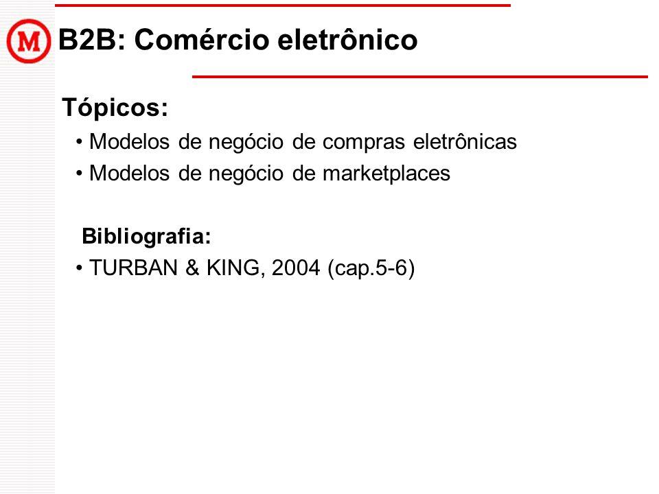 B2B: Comércio eletrônico Tópicos: Modelos de negócio de compras eletrônicas Modelos de negócio de marketplaces Bibliografia: TURBAN & KING, 2004 (cap.