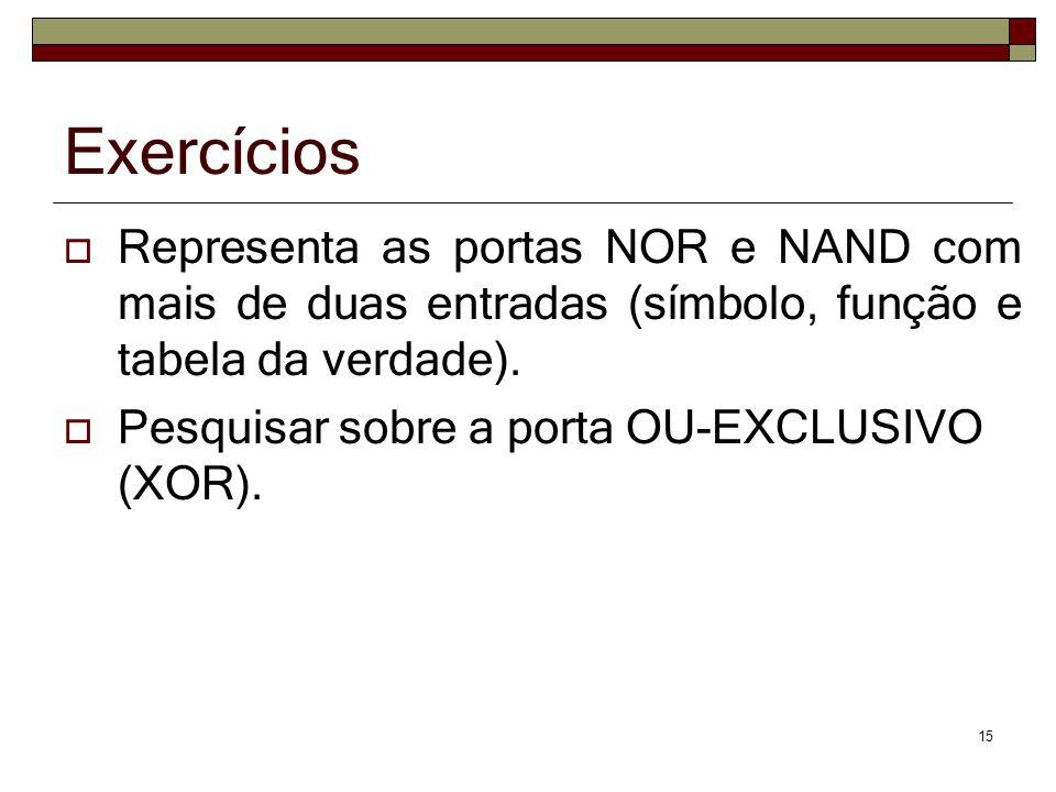 Exercícios  Representa as portas NOR e NAND com mais de duas entradas (símbolo, função e tabela da verdade).  Pesquisar sobre a porta OU-EXCLUSIVO (