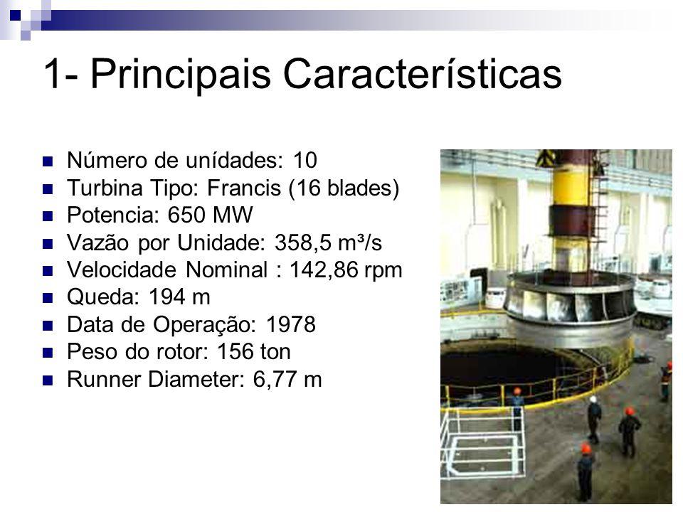 1- Principais Características Número de unídades: 10 Turbina Tipo: Francis (16 blades) Potencia: 650 MW Vazão por Unidade: 358,5 m³/s Velocidade Nomin