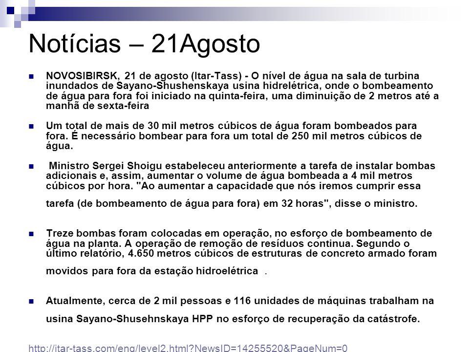 Notícias – 21Agosto NOVOSIBIRSK, 21 de agosto (Itar-Tass) - O nível de água na sala de turbina inundados de Sayano-Shushenskaya usina hidrelétrica, on