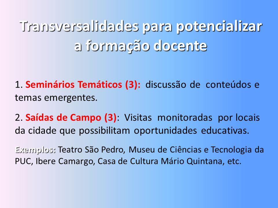 Transversalidades para potencializar a formação docente 1. Seminários Temáticos (3): discussão de conteúdos e temas emergentes. 2. Saídas de Campo (3)