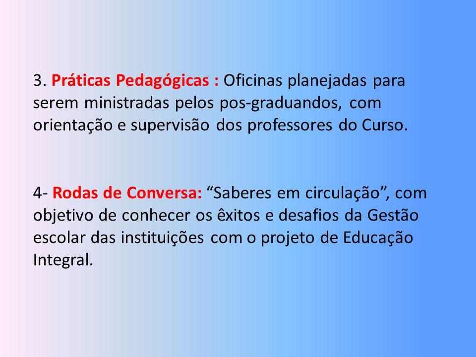 3. Práticas Pedagógicas : Oficinas planejadas para serem ministradas pelos pos-graduandos, com orientação e supervisão dos professores do Curso. 4- Ro