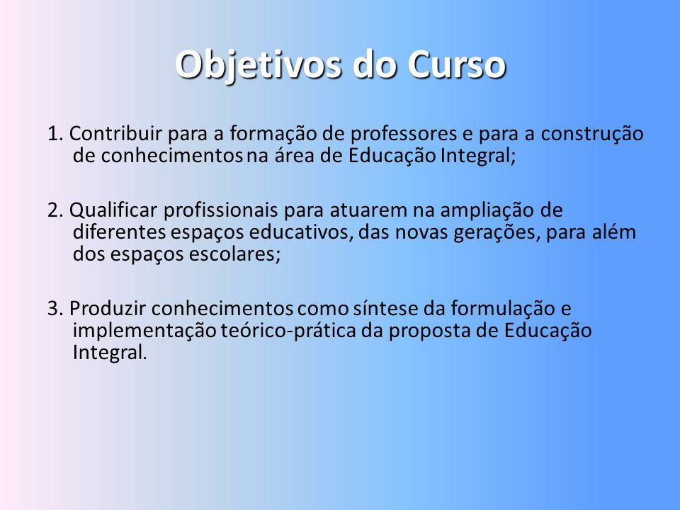Objetivos do Curso 1. Contribuir para a formação de professores e para a construção de conhecimentos na área de Educação Integral; 2. Qualificar profi