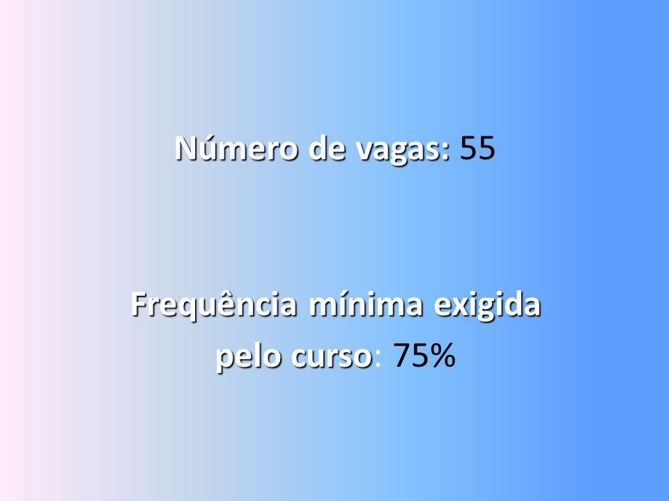 Número de vagas: Número de vagas: 55 Frequência mínima exigida pelo curso pelo curso: 75%
