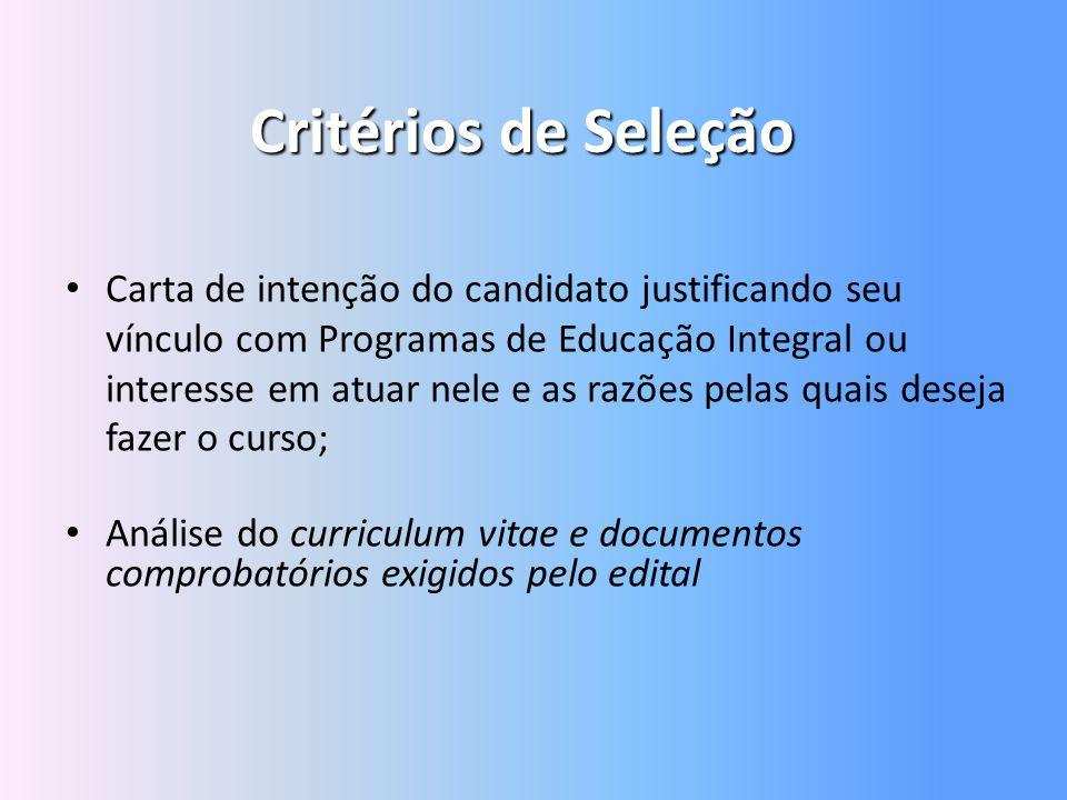 Critérios de Seleção Carta de intenção do candidato justificando seu vínculo com Programas de Educação Integral ou interesse em atuar nele e as razões
