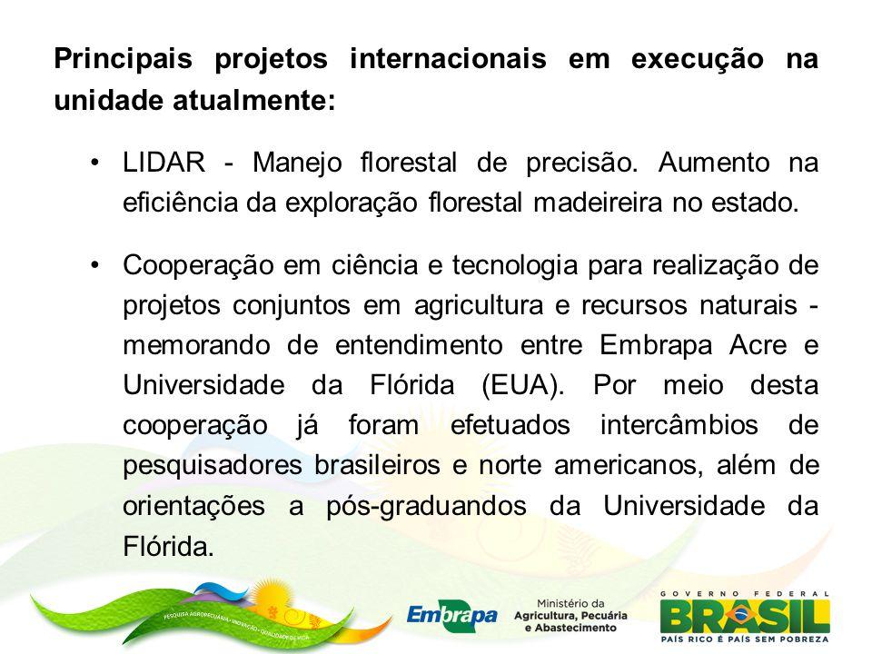 Principais projetos internacionais em execução na unidade atualmente: LIDAR - Manejo florestal de precisão. Aumento na eficiência da exploração flores