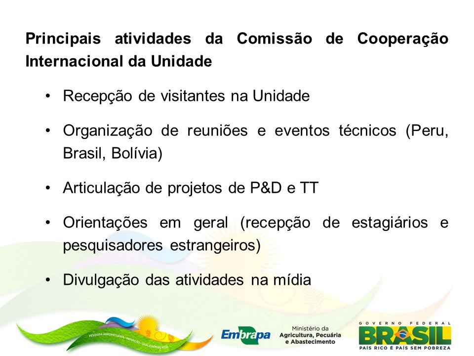 Principais atividades da Comissão de Cooperação Internacional da Unidade Recepção de visitantes na Unidade Organização de reuniões e eventos técnicos
