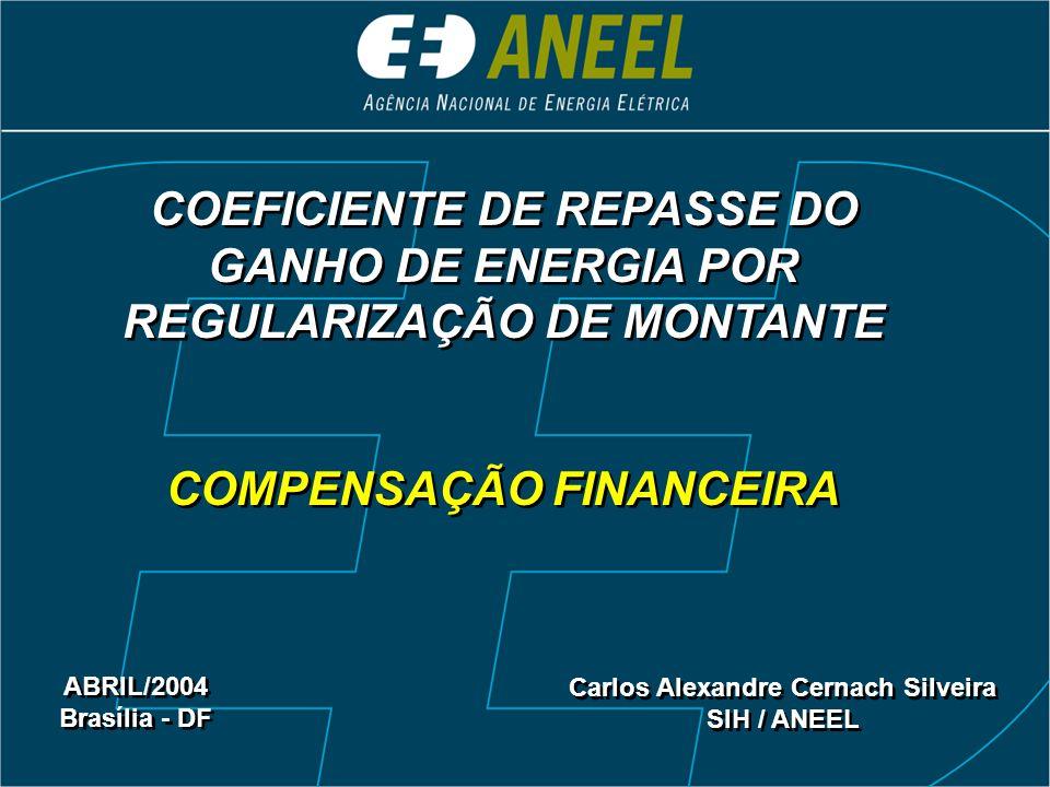 COEFICIENTE DE REPASSE DO GANHO DE ENERGIA POR REGULARIZAÇÃO DE MONTANTE COMPENSAÇÃO FINANCEIRA COEFICIENTE DE REPASSE DO GANHO DE ENERGIA POR REGULAR