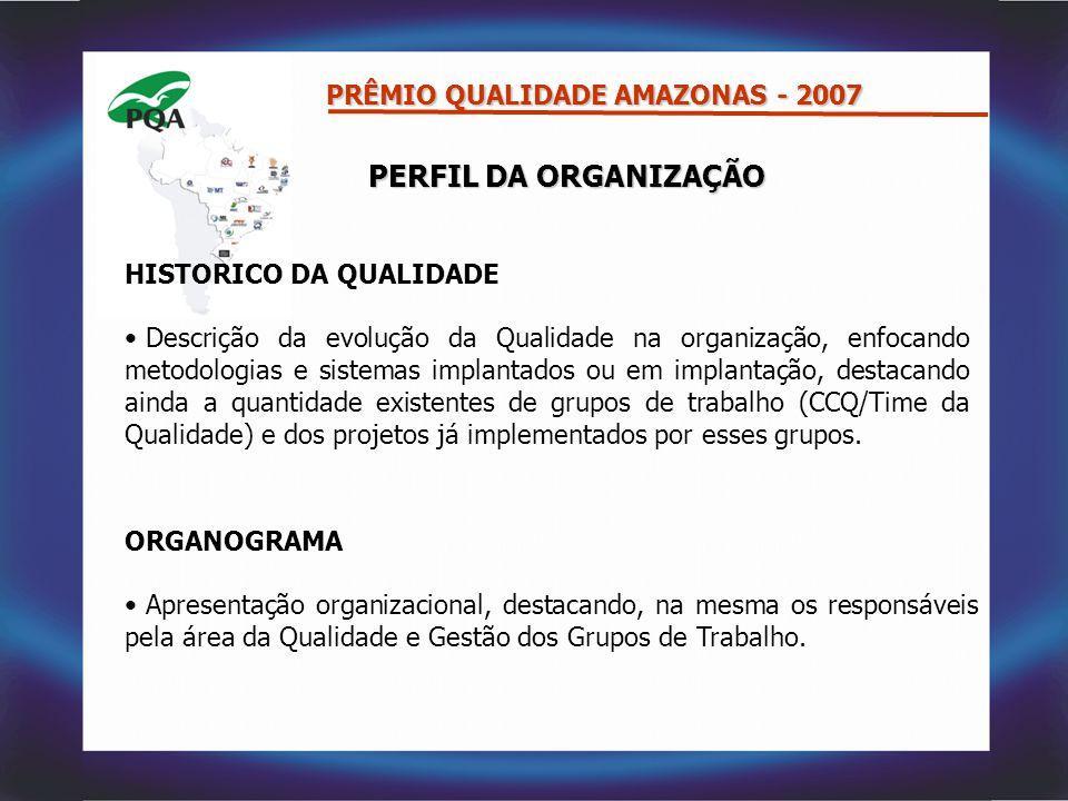 PERFIL DA ORGANIZAÇÃO HISTORICO DA QUALIDADE Descrição da evolução da Qualidade na organização, enfocando metodologias e sistemas implantados ou em im