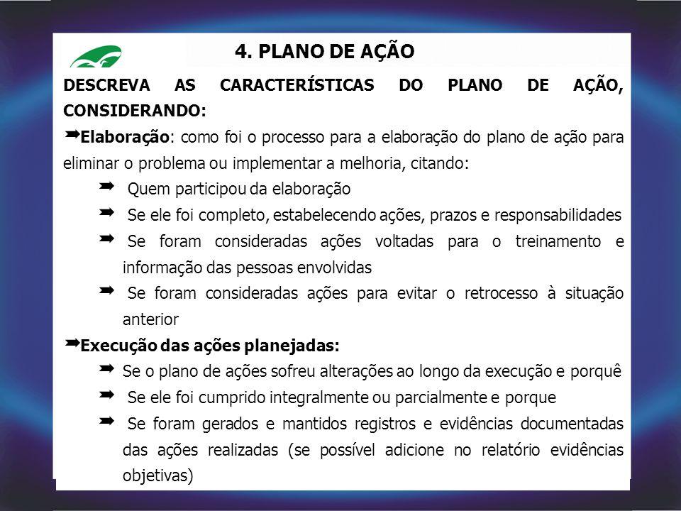 4. PLANO DE AÇÃO DESCREVA AS CARACTERÍSTICAS DO PLANO DE AÇÃO, CONSIDERANDO:  Elaboração: como foi o processo para a elaboração do plano de ação para