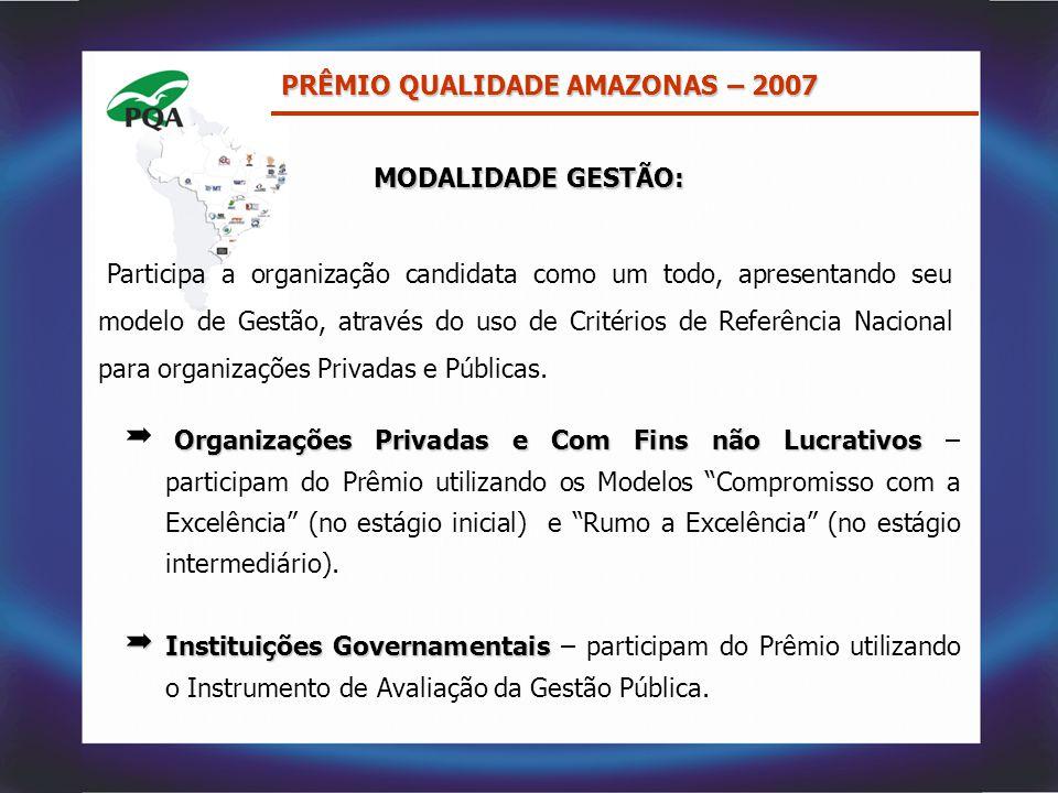 PRÊMIO QUALIDADE AMAZONAS – 2007 MODALIDADE GESTÃO: MODALIDADE GESTÃO: Participa a organização candidata como um todo, apresentando seu modelo de Gest
