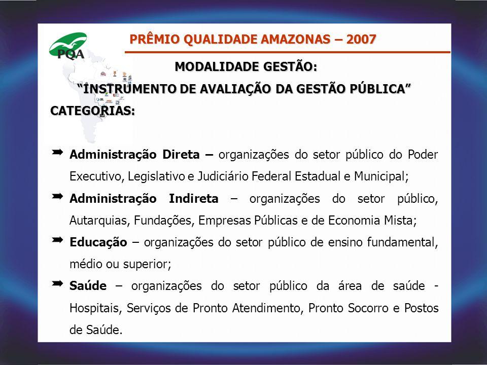 """PRÊMIO QUALIDADE AMAZONAS – 2007 MODALIDADE GESTÃO: MODALIDADE GESTÃO: """"INSTRUMENTO DE AVALIAÇÃO DA GESTÃO PÚBLICA"""" CATEGORIAS:  Administração Direta"""