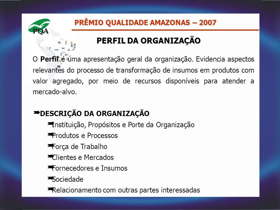 PERFIL DA ORGANIZAÇÃO O Perfil é uma apresentação geral da organização. Evidencia aspectos relevantes do processo de transformação de insumos em produ