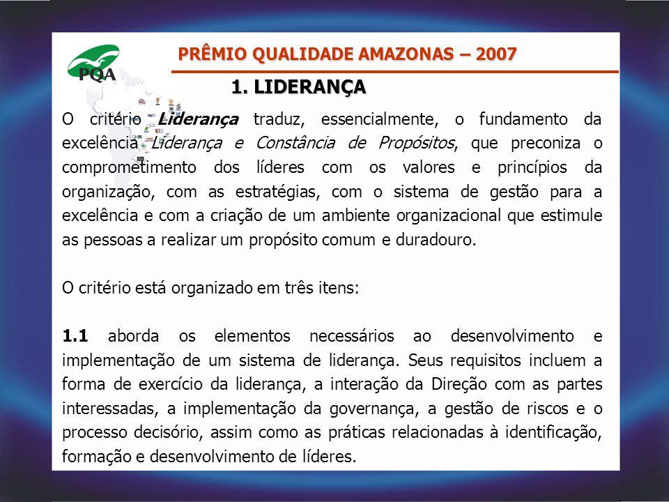 1. LIDERANÇA O critério Liderança traduz, essencialmente, o fundamento da excelência Liderança e Constância de Propósitos, que preconiza o comprometim