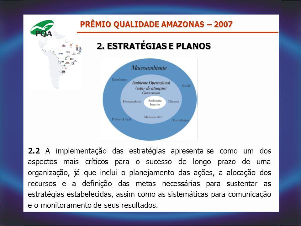 2. ESTRATÉGIAS E PLANOS 2.2 A implementação das estratégias apresenta-se como um dos aspectos mais críticos para o sucesso de longo prazo de uma organ