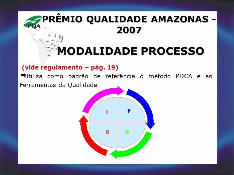 A C P D PRÊMIO QUALIDADE AMAZONAS - 2007 MODALIDADE PROCESSO (vide regulamento – pág. 19)  Utiliza como padrão de referência o método PDCA e as Ferra