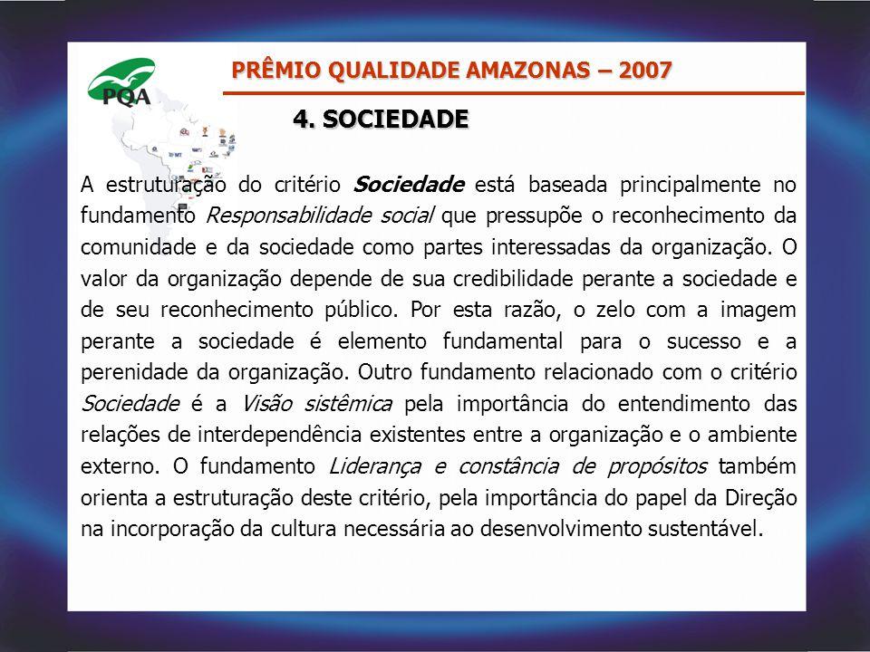 4. SOCIEDADE PRÊMIO QUALIDADE AMAZONAS – 2007 A estruturação do critério Sociedade está baseada principalmente no fundamento Responsabilidade social q