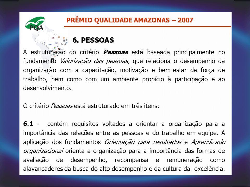 A estruturação do critério Pessoas está baseada principalmente no fundamento Valorização das pessoas, que relaciona o desempenho da organização com a
