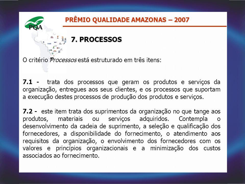 O critério Processos está estruturado em três itens: 7.1 - trata dos processos que geram os produtos e serviços da organização, entregues aos seus cli