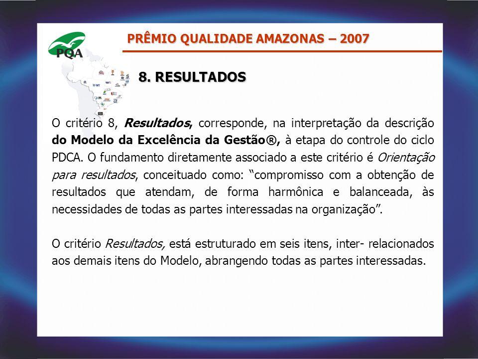 8. RESULTADOS PRÊMIO QUALIDADE AMAZONAS – 2007 O critério 8, Resultados, corresponde, na interpretação da descrição do Modelo da Excelência da Gestão®
