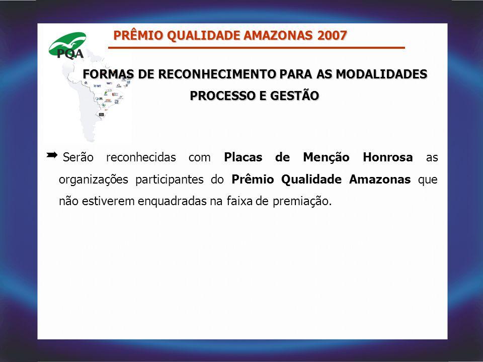 PRÊMIO QUALIDADE AMAZONAS 2007  Serão reconhecidas com Placas de Menção Honrosa as organizações participantes do Prêmio Qualidade Amazonas que não es