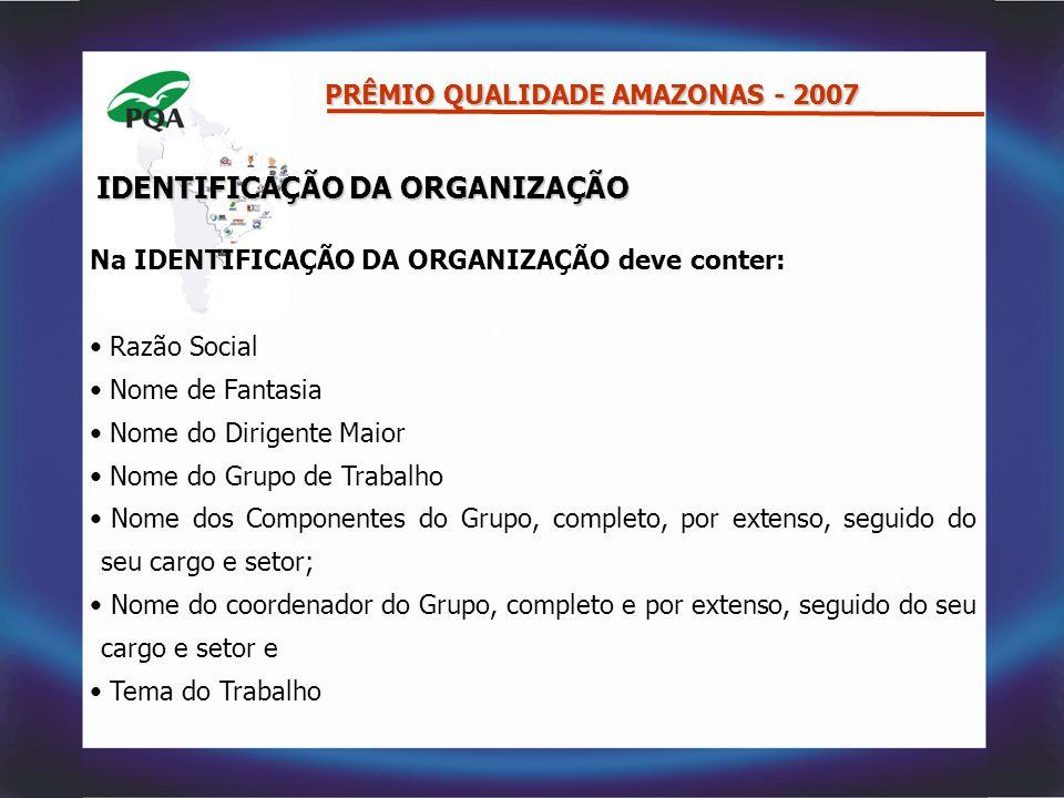 IDENTIFICAÇÃO DA ORGANIZAÇÃO Na IDENTIFICAÇÃO DA ORGANIZAÇÃO deve conter: Razão Social Nome de Fantasia Nome do Dirigente Maior Nome do Grupo de Traba