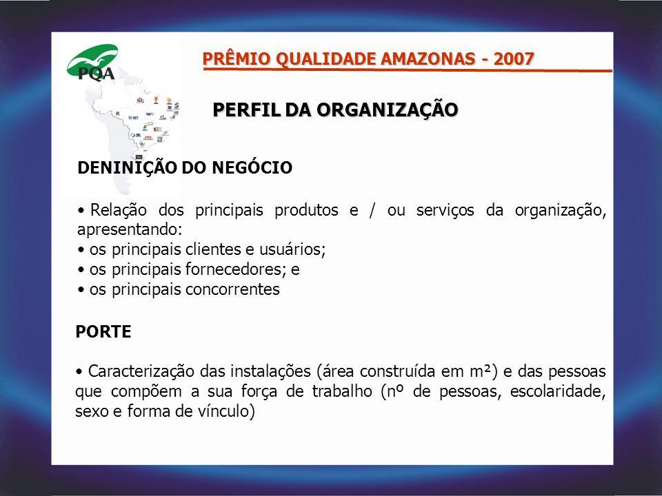 PRÊMIO QUALIDADE AMAZONAS – 2007 MODALIDADE GESTÃO: MODALIDADE GESTÃO: COMPROMISSO COM A EXCELÊNCIA CRITÉRIOSPONTUAÇÃO 1.