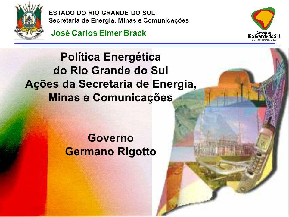ESTADO DO RIO GRANDE DO SUL Secretaria de Energia, Minas e Comunicações José Carlos Elmer Brack Política Energética do Rio Grande do Sul Ações da Secr