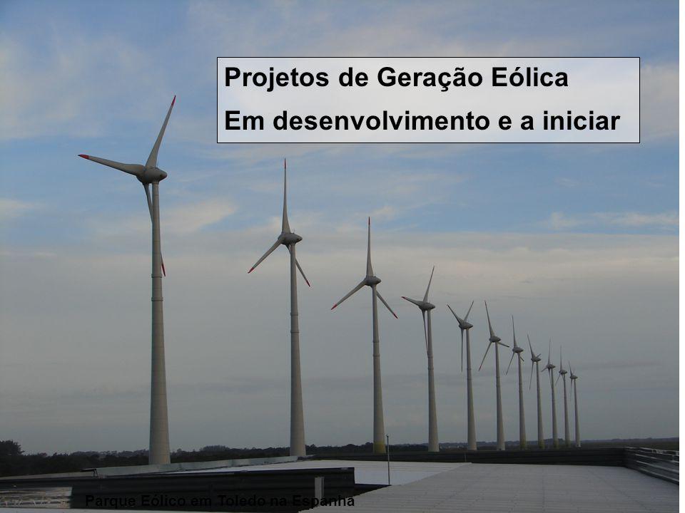 ESTADO DO RIO GRANDE DO SUL Secretaria de Energia, Minas e Comunicações Projetos de Geração Eólica Em desenvolvimento e a iniciar Parque Eólico em Tol