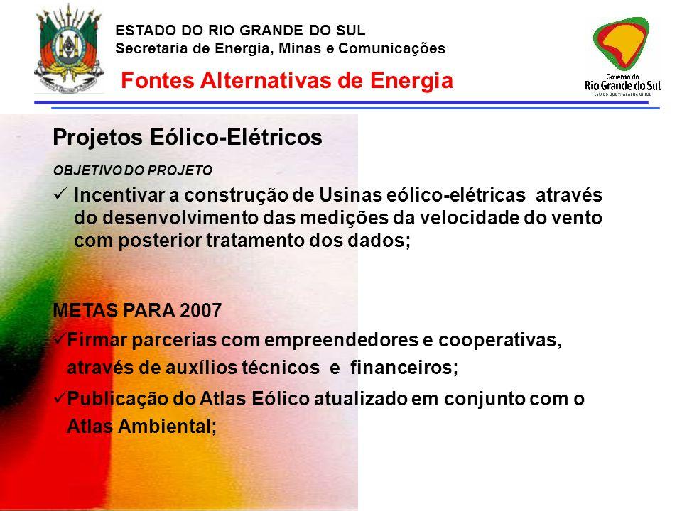 ESTADO DO RIO GRANDE DO SUL Secretaria de Energia, Minas e Comunicações Fontes Alternativas de Energia Projetos Eólico-Elétricos OBJETIVO DO PROJETO I