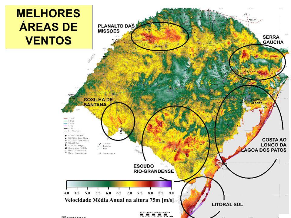 ESTADO DO RIO GRANDE DO SUL Secretaria de Energia, Minas e Comunicações MELHORES ÁREAS DE VENTOS