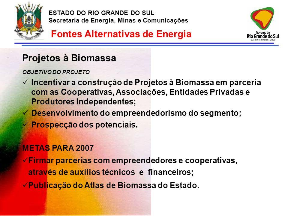 ESTADO DO RIO GRANDE DO SUL Secretaria de Energia, Minas e Comunicações Fontes Alternativas de Energia Projetos à Biomassa OBJETIVO DO PROJETO Incenti