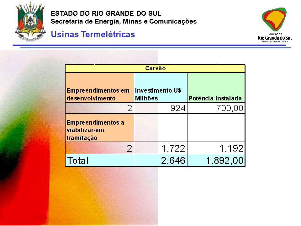 ESTADO DO RIO GRANDE DO SUL Secretaria de Energia, Minas e Comunicações ESTADO DO RIO GRANDE DO SUL Secretaria de Energia, Minas e Comunicações Usinas