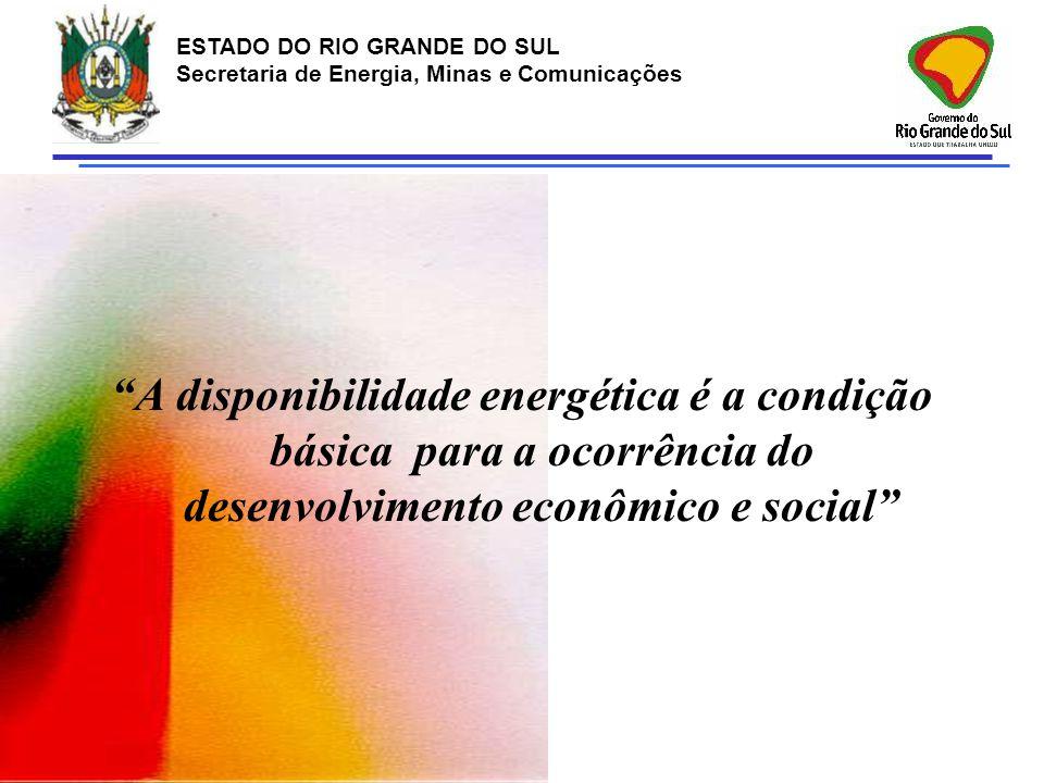 """ESTADO DO RIO GRANDE DO SUL Secretaria de Energia, Minas e Comunicações """"A disponibilidade energética é a condição básica para a ocorrência do desenvo"""