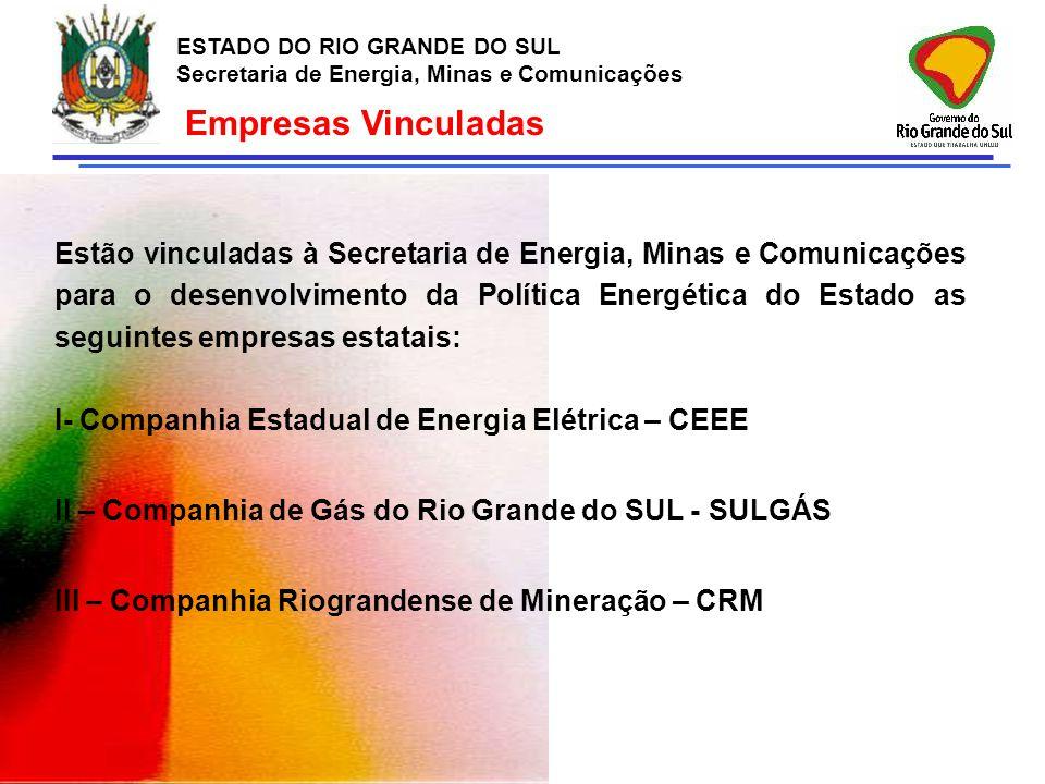 ESTADO DO RIO GRANDE DO SUL Secretaria de Energia, Minas e Comunicações Gás Natural - SULGÁS ESTADO DO RIO GRANDE DO SUL Secretaria de Energia, Minas e Comunicações RAMAIS GUARDA-CHUVA (investimentos em gasodutos de ligação de clientes): R$ 5,8 milhões GASODUTO ARROIO DOS RATOS (índústria Sulina) : R$ 5,0 milhões GASODUTO CAXIAS (Eaton e Coocaver): R$ 5,5 Milhões ESTAÇÃO DE COMPRESSÃO (fornecimento de GN comprimido): R$ 1,9 Milhões EXPANSÃO CLIENTES COMERCIAIS E RESIDENCIAIS: R$ 0,7 Milhões PROJETO SISTEMA SUPERVISÓRIO E TI (operação automatizada das redes): R$ 5,0 Milhões Projetos no Orçamento de 2007 Total de Investimentos: R$ 23,8 milhões, - recursos próprios SULGÁS