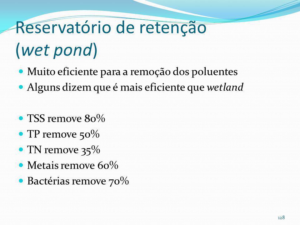 Reservatório de retenção (wet pond) Pode ser construída: On line: WQv permanente e WQv temporário + volume para enchentes Off line: WQv permanente e W