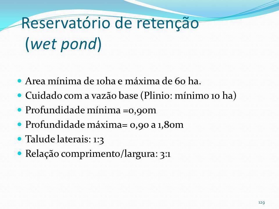 Reservatório de retenção (wet pond) Muito eficiente para a remoção dos poluentes Alguns dizem que é mais eficiente que wetland TSS remove 80% TP remov