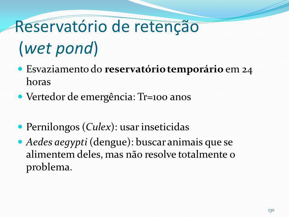 Reservatório de retenção (wet pond) Area mínima de 10ha e máxima de 60 ha. Cuidado com a vazão base (Plinio: mínimo 10 ha) Profundidade mínima =0,90m