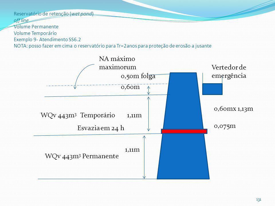 Reservatório de retenção (wet pond) Esvaziamento do reservatório temporário em 24 horas Vertedor de emergência: Tr=100 anos Pernilongos (Culex): usar