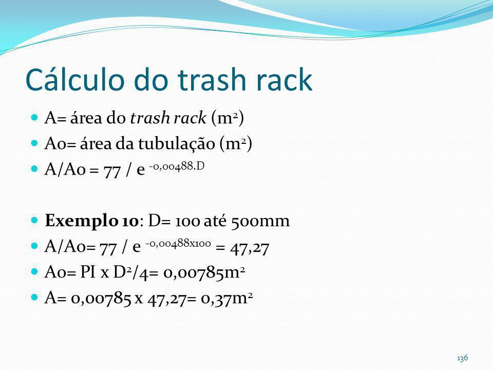 Trash rack ( ≤ 0,15m) (Há cálculos da área da grade e da perda de carga) 135