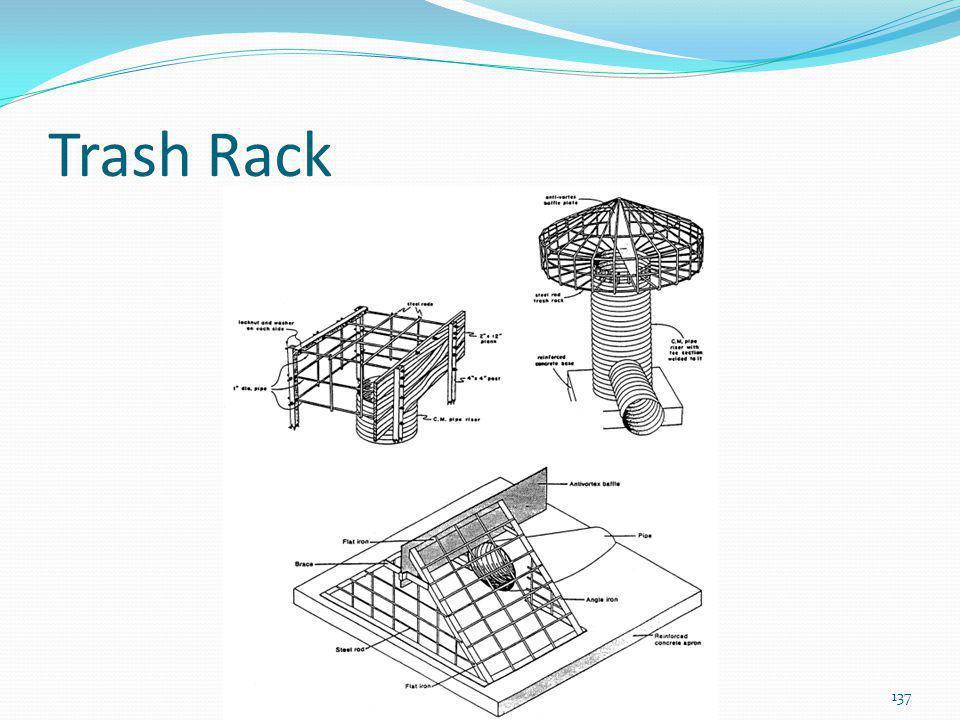 Cálculo do trash rack A= área do trash rack (m 2 ) Ao= área da tubulação (m 2 ) A/Ao = 77 / e -0,00488.D Exemplo 10: D= 100 até 500mm A/Ao= 77 / e -0,