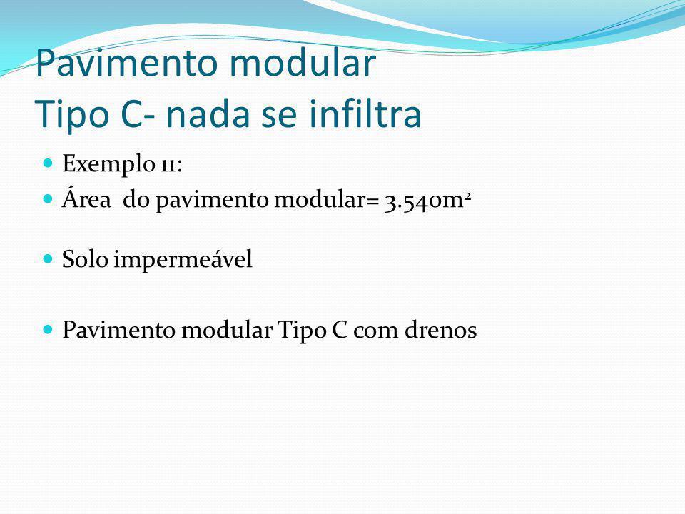 Pavimento modular Tipo C Temos que achar o diâmetro do tubo de drenagem e o espaçamento. E= 2x h/(q/K) 0,5 Sendo: E= espaçamento dos tubos em paralelo