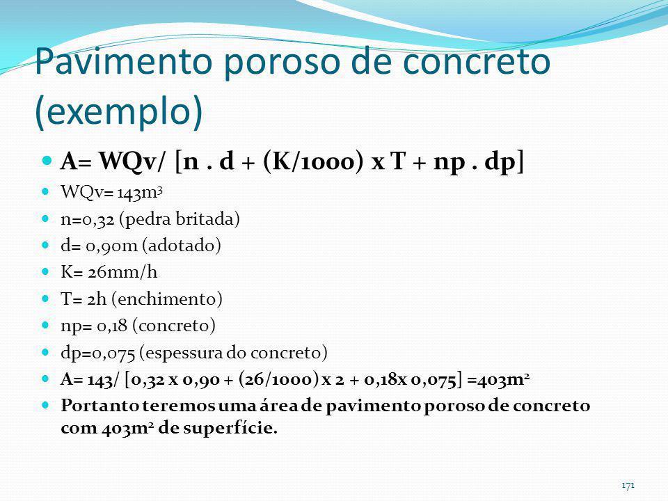Pavimento poroso (exemplo de pavimento poroso de concreto) Exemplo 12: Estacionamento com 6.000m 2 irá despejar as águas pluviais em pavimento poroso
