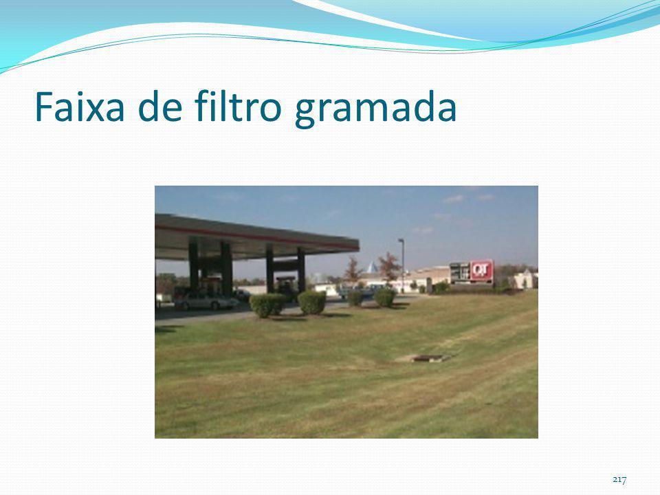 Faixa de filtro gramada (filter strip) (filtra as águas pluviais) Não tem nada a haver com enchentes e sim com melhoria da qualidade das águas pluviai