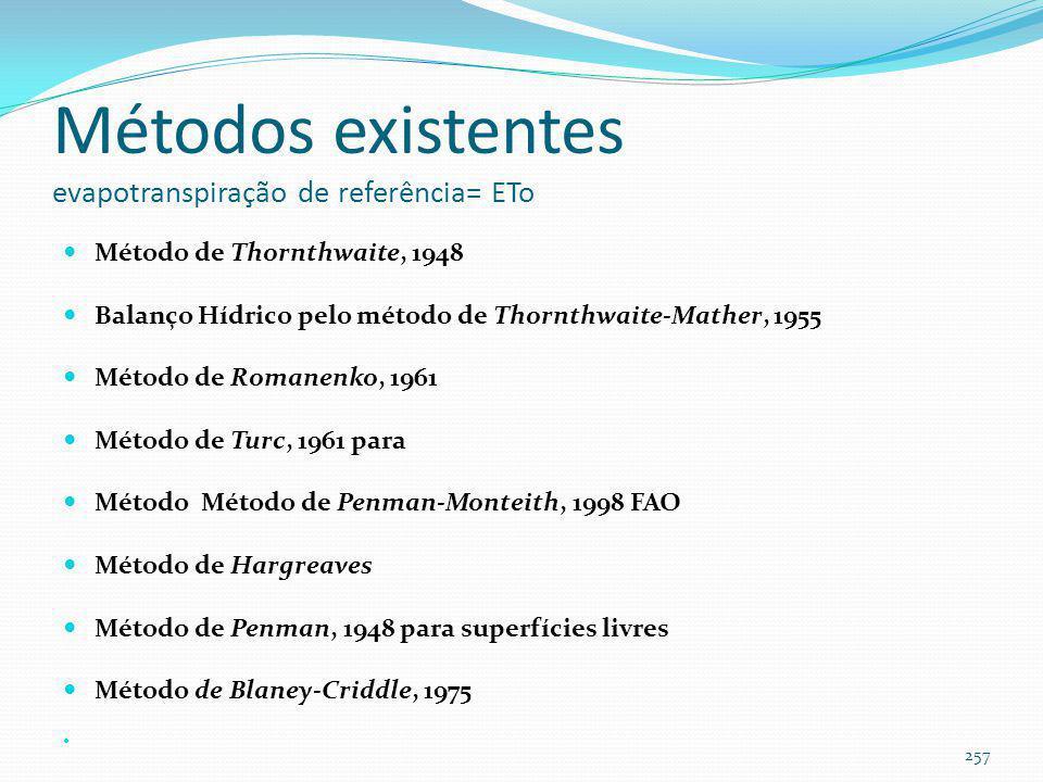 Objetivo Obter a evapotranspiração de referência ETo Achar método simples de cálculo Fácil aplicação para qualquer lugar do Brasil 256