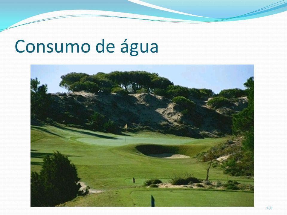 Irrigação de gramados Objetivo: Estimativa de consumo de água em: Jardins Praças Campos de futebol Campos de golfe 270